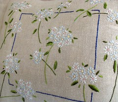 Embroidered Daisies Cushion (detail) (Bustle & Sew) Tags: flowers daisies pattern linen embroidery pillow stitching cushion