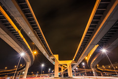 Shinonome Junction /  JCT (Sandro Bisaro) Tags: city longexposure urban japan night canon dark tokyo lowlight highway cityscape junction   expressway canon1740mmf4lusm nihon koto kotoku jct shuto  shinonome expressways elevatedexpressway shutoexpressway elevatedhighways canon5dmarkiii