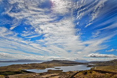 Loch Leathan (stumpyheaton) Tags: uk blue sky white mountain lake skye water clouds landscape outside island scotland nikon day cloudy sigma hills loch vapour leathan d5100