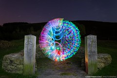 Two Faced (Gareth Brooks) Tags: lightpainting colorful orb sphere hybrid northwales denbighshire moelfamaucountrypark lenserorb hybridorb twosidedorb