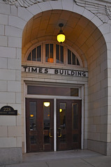 Times Building - v4618 (SouthernBreeze) Tags: door wood city trip travel family friends light usa building art history geotagged fun restaurant newspaper wooden office al nikon downtown unitedstates huntsville alabama highrise limestone historical times avenue deco holmes brewpub hsv d90 timesbuilding southernbreeze rocketcity 2013 goetag nikond90 belowtheradar 228holmesavenue