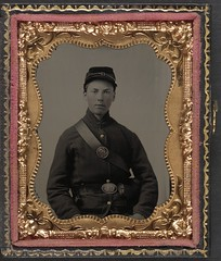 [Private Nathaniel Shoup of Co. C, 84th Pennsylvania Infantry Regiment in uniform]  (LOC) (The Library of Congress) Tags: portrait man infantry private uniform pennsylvania union young case te