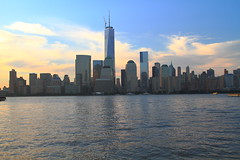 One World Trade Center (pmarella) Tags: sky skyline clouds sunrise shadows silhouettes pmarella hudsonriver lowermanhattan onthewaterfront riverviewpkproductions icoverthewaterfront