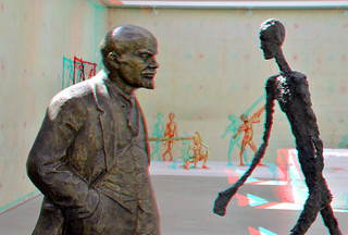 Meeting of two sculptures: Lenin and Giacometti 3D