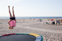 (Peter de Krom) Tags: pink beach girl up side down trampoline hvh