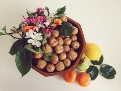 Spring Colours (Hueystar) Tags: flowers orange leaves smart mobile fruit spring lemon colours phone 5 walnuts bowl pear mandarin iphone
