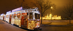 #Flickr12Days Panorama from the Christmas tram in Budapest - with the Parliament in the background (Romeodesign) Tags: christmas xmas winter panorama station night weihnachten festive lights licht hungary nacht trolley budapest wide tram parliament promenade parlament streetcar 19 buda strassenbahn villamos 3888 batthyány fényvillamos flickr12days