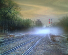 === tracks into the fog === (xandram) Tags: fog photoshop lights tracks rr textures thaw tonemapped