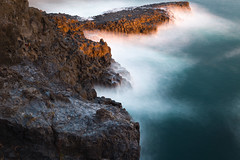 Fire and Ice (DMac 5D Mark II) Tags: longexposure travel light sunset sea seascape water rock landscape island golden evening cool warm waves southkorea jeju volcanic joints columnarjoints jusangjeolli
