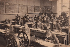 Industrious engineering students (undated) (pellethepoet) Tags: school boys students kids children classroom interior engineering indoor photograph schoolchildren compass pupils desks youngmen schoolboys setsquare