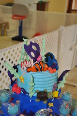 Finding Nemo Custom Cake (rikkitikitavi) Tags: cake coral seashells dessert shark nemo handmade chocolate sealife disney cupcake vanilla squirt reef dory findingnemo milkchocolate fondant buttercream frenchvanilla brucetheshark handsculpted cakeball cakepop