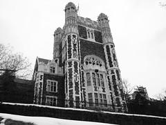 Shepard Hall, St Nicholas Park winter view (JeffReuben) Tags: stnicholaspark nyc newyorkcity manhattan harlem ccny citycollege georgebrownepost gothic neogothic blackwhite bw snow elementalarchitecture newyork collegiategothic 160conventavenue 160conventave