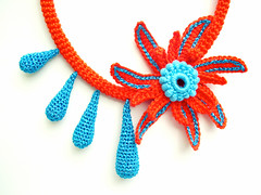 Teardrops necklace (LindaLejn) Tags: pink blue sea summer orange sun flower fashion modern necklace spring handmade turquoise unique bib crochet tube craft jewelry gifts cotton gift trendy statement accessories etsy fiber accessory teardrops lindalejn