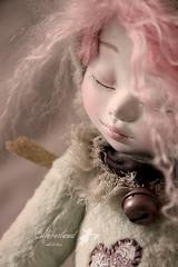 Promesse (ooak mixed media art doll) (Meko) Tags: green cat ceramic handmade kitty plush sleepy artdoll jointed artistbear