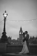 Night Time Kiss (Marie Cummins) Tags: wedding bw white black london night groom bride big kiss couple ben