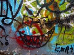 Graffiti on the Aqueduct Bridge stub (SchuminWeb) Tags: bridge blue red orange brown white black green eye face river graffiti glasses march town george dc washington eyes paint pointy ben district painted web teeth bridges columbia georgetown spray aqueduct potomac spraypaint eyeglasses pointed 2014 spraypainted aqueductbridge schumin schuminweb