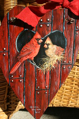 """Cardinals in red barn birdhouse painting by sherrylpaintz (sherrylpaintz) Tags: ooak sherrylpaintz artist """"wildlife artist"""" acrylicpainting """"hand painted"""" painting original realism realistic wildlife """"folk art"""" nature natural floral chic """"shabby chic"""" whimsical colorful décor decorative """"decorative design primitive """"primitive folk treasures romantic custom style """"decorating style"""" victorian majestic patina country """"wall woodland cardinal redbirds femalecardinal malecardinal red barn """"red barn"""" """"distressed wood"""" """"weathered birdhouse """"bird painting"""" """"cardinal love cherish valentine heart holiday usa american """"american northerncardinal northerncardinalpainting"""
