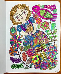 My coloring page, I used gel pens and a little colored pencil for the skin and cat. (f l a m i n g o) Tags: art artist page coloring gelpens 19223