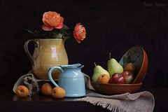 The Heaven of Country Quiet (Esther Spektor - Thanks for 10+ millions views..) Tags: flowers blue red stilllife food orange brown reflection green apple yellow fruit composition canon stem rust ceramics pattern availablelight country stilleben bowl pear jug apricot runner pitcher arrangement bodegon naturemorte naturamorta roese naturezamorta creativephotography sacking artisticphoto abletop estherspektor