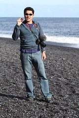 Self Portrait at Reynisdrangar (andrewtheadventurer) Tags: ocean black beach sunglasses canon iceland mark watch omega vik professional ii planet romeo 5d seamaster oakley reynisdrangar 8500