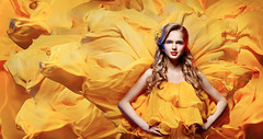 Fashion Model Young Woman, Girl on Waving Fabric Background, Yellow Dress (noor.khan.alam) Tags: portrait people woman color art girl beautiful beauty face fashion yellow lady female hair studio person golden flying clothing model glamour paint dress dynamic artistic wind young silk chiffon makeup posing style latvia clothes desire textile teen fabric passion flowing gown cloth elegant care waving fluttering cosmetic fashionmodel fashiongirl fashionwoman