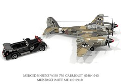 Mercedes-Benz W150 770 Grosser Cabriolet (1938 - 1943) & Messerschmitt Me 410 Heavy Fighter (1943) (lego911) Tags: mercedesbenz mercedes benz w150 770 grosser cabriolet 1938 1943 1930s 1940s luxury hitler third reich nazi germany german auto car moc model miniland lego lego911 ldd render cad povray supercharger supercharged lugnuts challenge 103 thefabulousforties fabulous fortiesmesserschmidtt me 410 fighter bomber aero airplane aeroplane aircraft luftwaffe ww2 wwii world war 2 ii air plane db603 db 603 v12