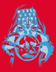 Obscenus Gypsy (ElDav1d) Tags: david illustration ink ball design hand graphic crystal tshirt silkscreen drawn gypsy tee diseo psychedelia camiseta merchandising grafico cabalgata seer ilustracin gitana csmica serigrafa halftones psicodlia semitonos mindbendind