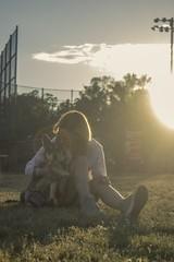 Odin, Master of Blondes (codyforrester) Tags: park dog girl animal outdoors model rimlight