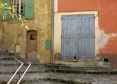 Street corner, Mane, Provence, France (Spencer Means) Tags: dwwg door doorway blue mane provence france pastel village medieval street provencealpescotedazur steps corner south color