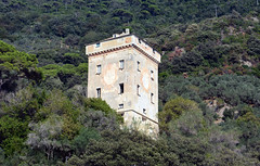 San Fruttuoso tower (PhillMono) Tags: travel italy tower art heritage history abbey architecture nikon san tourist terre dslr renaissance cinque fruttuoso d7100