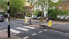 Knocked down Belisha Beacon (sarflondondunc) Tags: london lambeth zebracrossing belishabeacon lambethroad