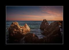Rosamar (tkimages2011) Tags: sunset sea sky moon water canon evening coast spain rocks mediterranean catalonia crescent catalunya costabrava catalan rosamar