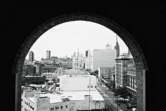 DaR1-017-7 (David Swift Photography Thanks for 16 million view) Tags: windows film rooftop philadelphia 35mm cityscape skyscrapers cities skylines ilfordxp2 yashicat4 centercityphiladelphia divinelorrainehotel downtownphiladelphia davidswiftphotography