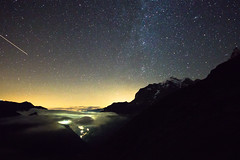 Sterne uber dem Lauterbrunnetal (-Maddin-) Tags: mountain alps night stars star schweiz nacht berge alpen stern wandern sterne milkyway sternschnuppe 2014 shootingstar mrren milchstrase schmadrihtte