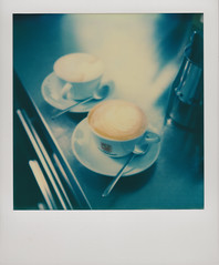 Cappuccino for two..... (Istvan Penzes) Tags: color analog polaroid sx70 instant cappuccino manualfocus aphog penzes canoscanlide700f impossiblecolor