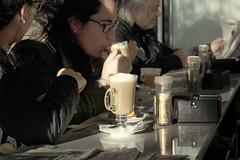 Coffee break (wesp2011) Tags: news man caf mirror talking coffe hombre dama reflejos peridico pausa conversar