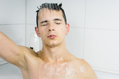 In the Shower (danielfoster437) Tags: conditioner handsomemale handsomeman intheshower maletakingshower manintheshower mantakingshower portrait selfportrait shampoo shower showering sprayingwater takingashower washing washingface washinghairshower youngmale youngman