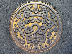 Nodagawa Kyoto, manhole cover  (MRSY) Tags: nodagawa kyoto japan manhole flower
