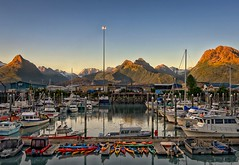 Morning at the Marina (Philip Kuntz) Tags: morning alaska marina boats dawn fishing valdez kayaks daybreak firstlight sportfishing chugachmountains