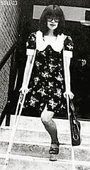 h5341_23_1970s platform soled monopede (jackcast2015) Tags: handicapped disabled disabledwoman cripledwoman onelegwoman oneleggedwoman monopede amputee legamputee crutches