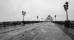 Cathedral of Christ the Savior in Moscow (Konstantin Agaltsov) Tags: street city bridge autumn sky bw panorama architecture landscape nikon cityscape russia outdoor moscow panoramic fisheye samyang