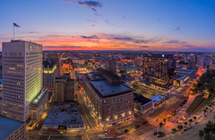 Newark At Sunset (kirit prajapati photography) Tags: sunset classic night us newjersey newark prudential skyscapers usaflag d810 nikond810 nikon142428mmnikon