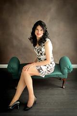 Black and White Floral Dress 7 (Hannah McKnight) Tags: tgirl transgender transgirl model crossdress crossdresser stilettos