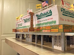 Nathan's Famous Coney Island, NY Sale Model (JC Scale Structures) Tags: new york city urban ny brick history beach scale architecture brooklyn island design hotdog model lego anniversary famous landmark replica shore boardwalk 100 minifig coney nathans frankfurter 1916 minifigure 2016 oscale nathans