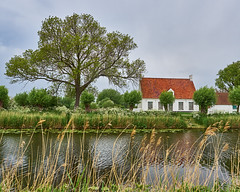 Damme canal house with red roof (wellingtonandsqueak) Tags: tree canal belgium c1 damme