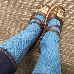 Manoa Falls on HKF (bogiebogie) Tags: socks knitting pattern knit cables knitty manoa