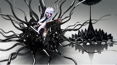 Fame . (Venus Germanotta) Tags: secondlife magazine spread aesthetic monster ferrofluid fame model pose fierce edit photoshop dark ominous evil gaga weave littlebones trapped fantasy latex r2