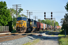Creeping through Fostoria Ohio. (Machme92) Tags: railroad ohio sky clouds rocks trails rail row rails ge railfan freight railroads csx freighttrain conrail railroading railfanning csxt gevo railfans