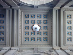 Narodni Divadlo (gabeviela) Tags: architecture baroque neoclassic renaissance blue ceiling detail details up classic arch prague praha czech cechia building entrance white cream ivory