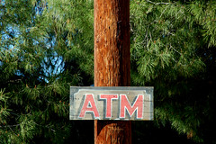 Western ATM (Atwater Village Newbie) Tags: santa county wood sign festival t wooden los cowboy angeles machine m pole april fest atm teller automated clarita 2013 dsc0891